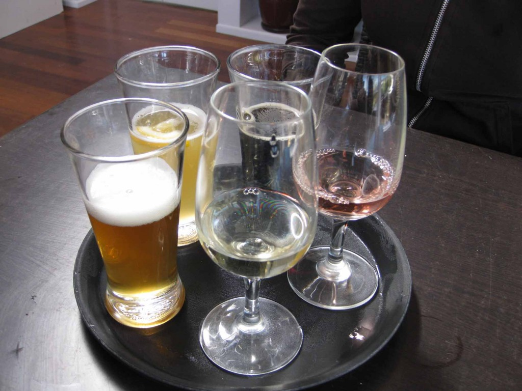 glasses of wine and beer