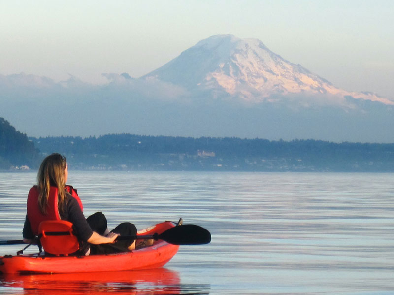 Kayaking in Seattle with Mt. Rainier in the background