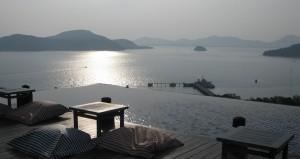 bar overlooking the water