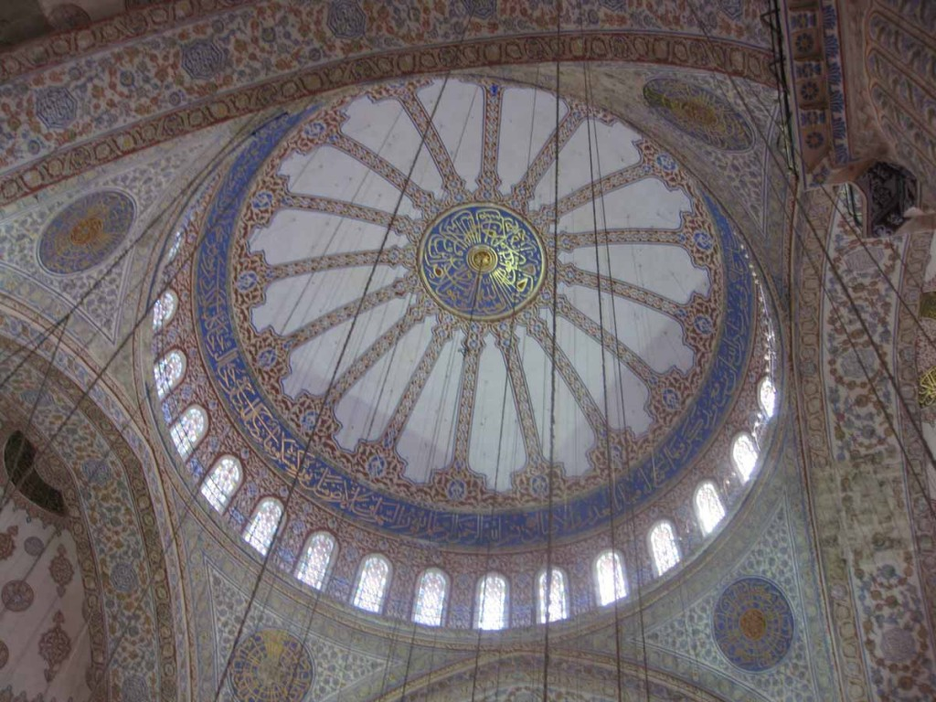 Tiled dome inside the Blue Mosque
