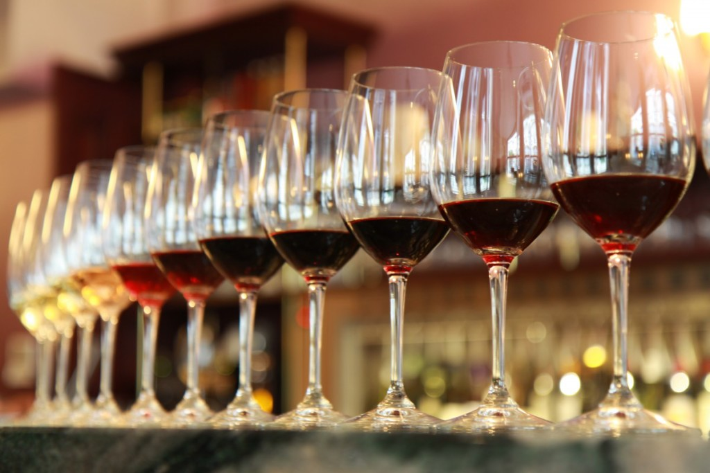 An array of wine glasses