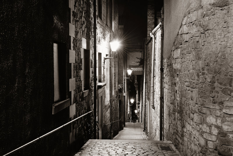 Edinburgh city streets at night
