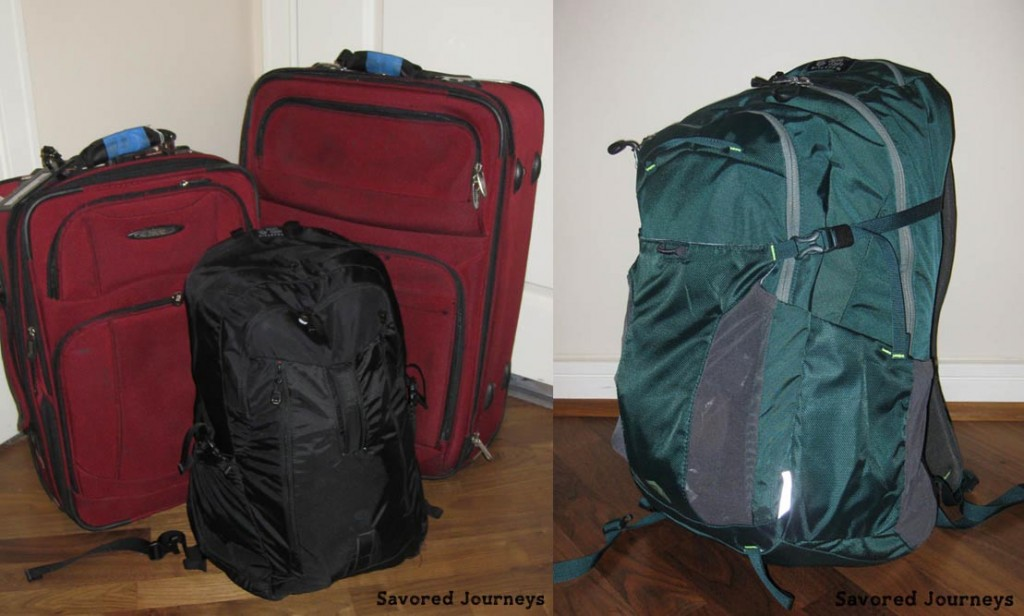 Large luggage vs small backpack