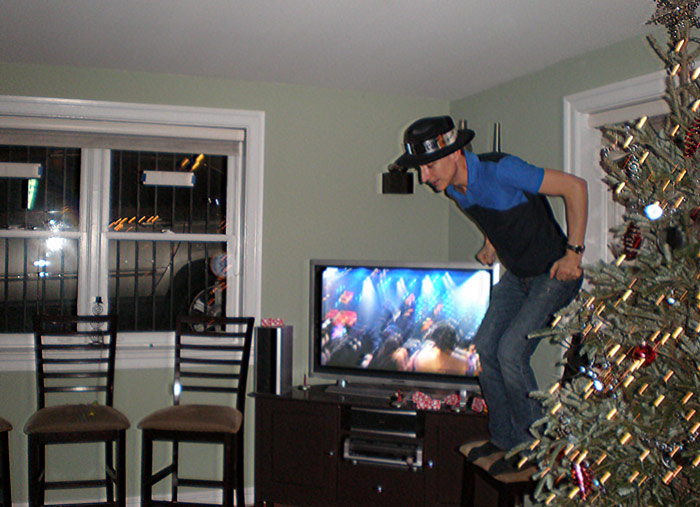 The New Year's Eve tradition of jumping off of chairs has always been our favorite.