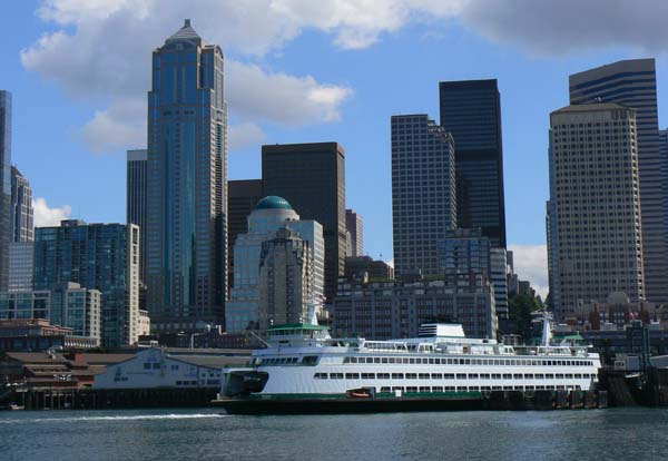 Washington State Ferry docked in Seattle