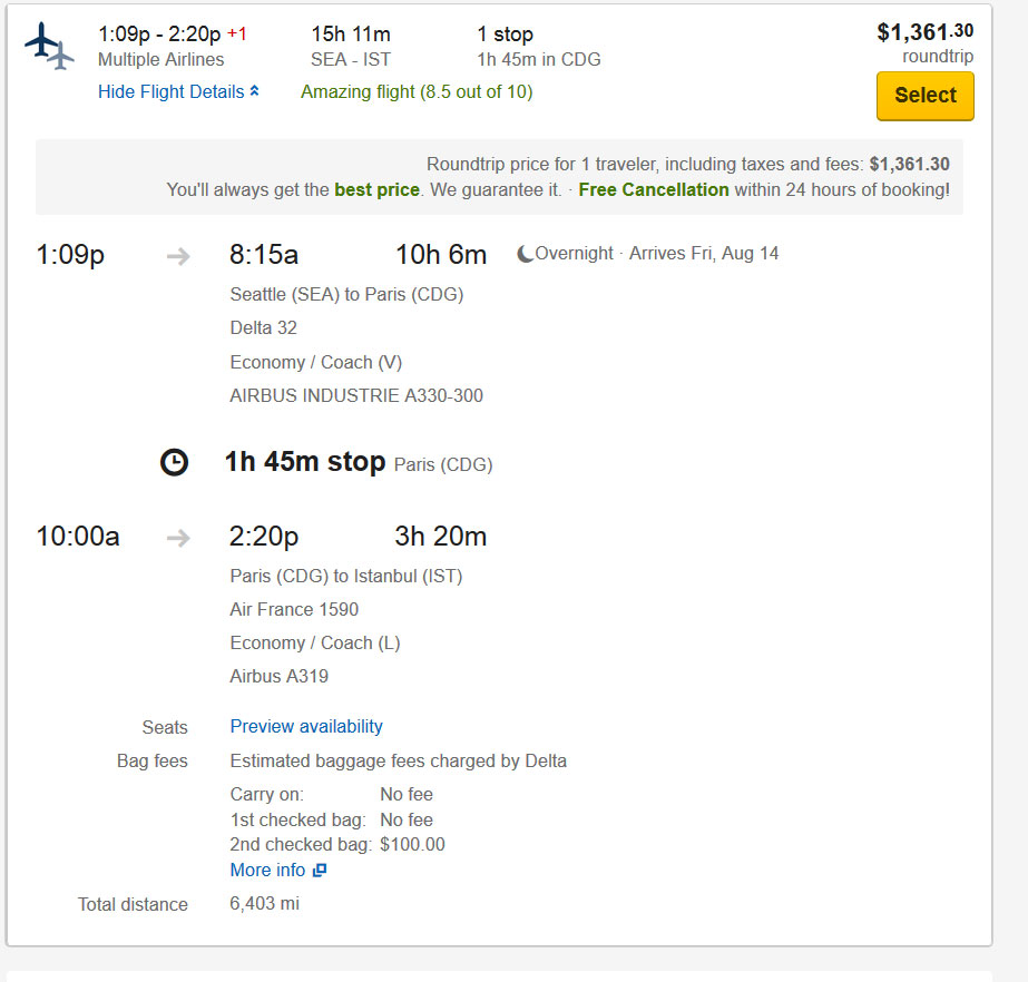 Roundtrip Flight on Expedia