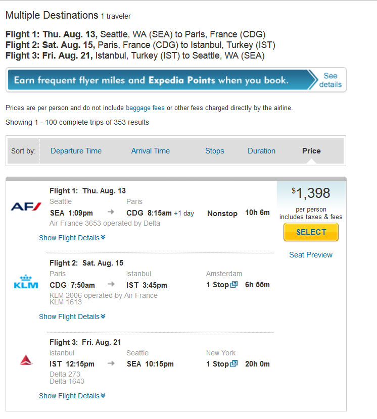 Multiple Destinations flight on Expedia