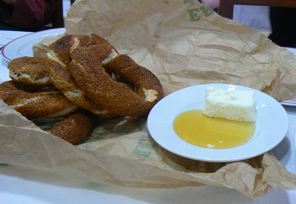 Simit with Kaymak (Water Buffalo clotted cream) and honey