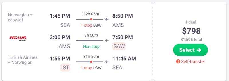 Adding a stopover sometimes saves money