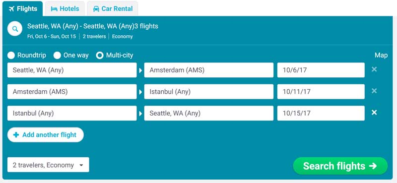 Performing a multi-stop flight search will uncover possible stopovers