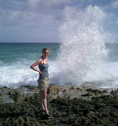 The obligatory tourist-next-to-blowhole picture