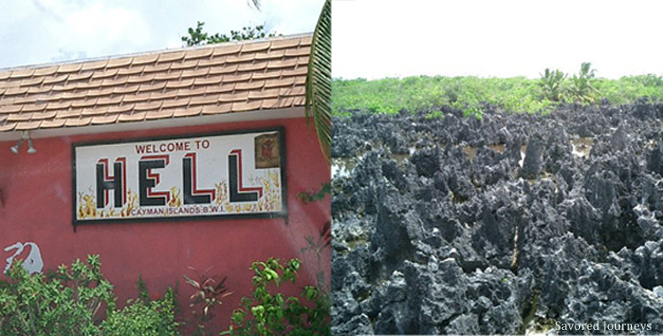 Post office and limestone formation in Hell