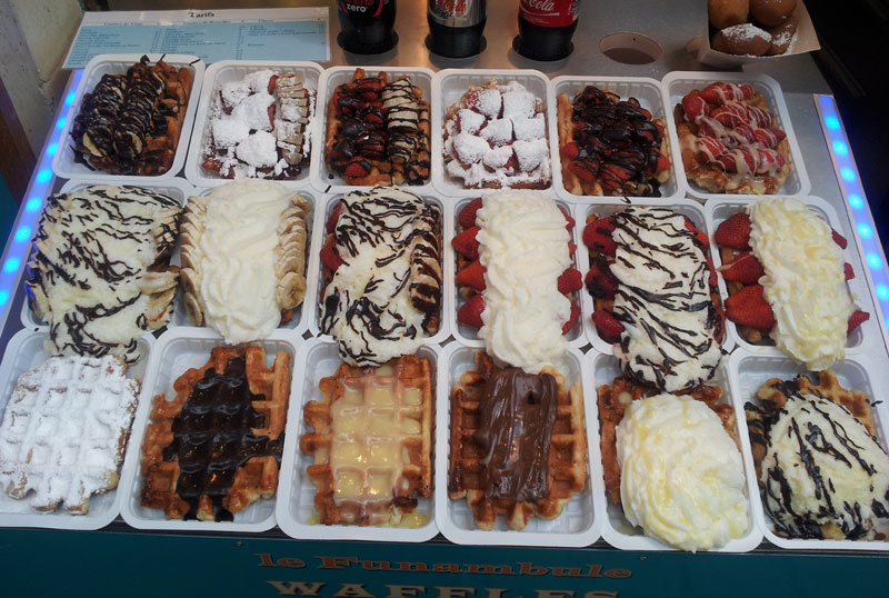 Belgian Waffles with all their delicious toppings