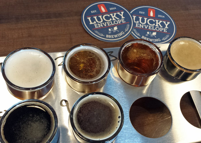 Lucky Envelope's beer tasting tray