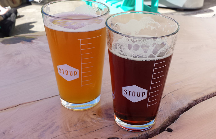 Pints at Stoup's outdoor seating area