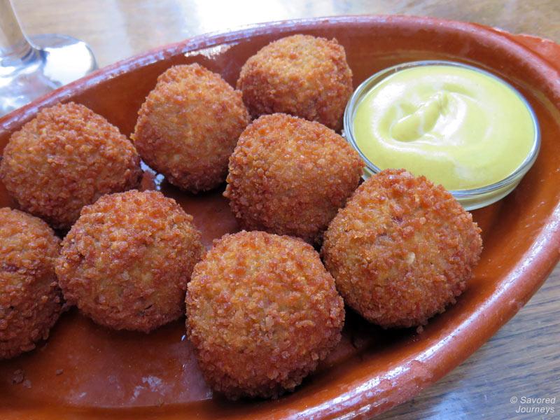 Traditional dutch snack called Bitterballen