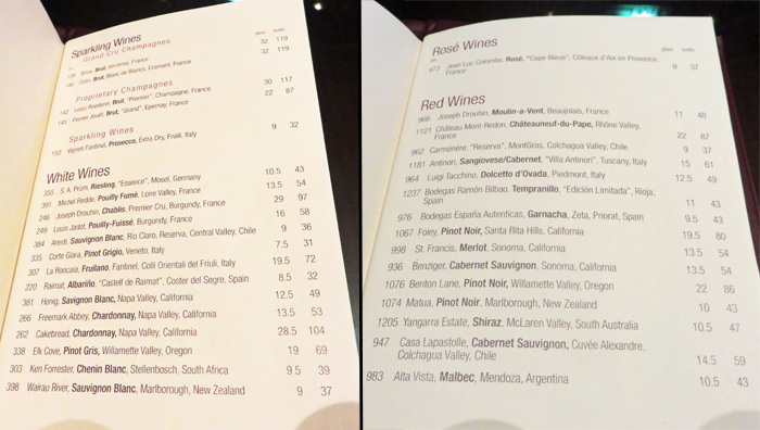 Wine-by-the-glass price list