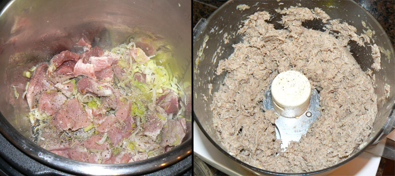 Blend the meat filling to a