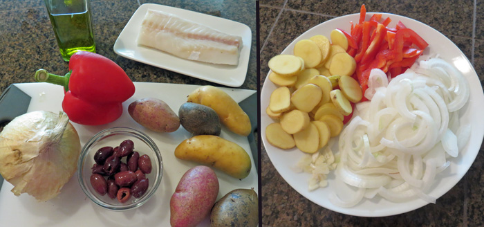 Ingredients for making Bacalhau