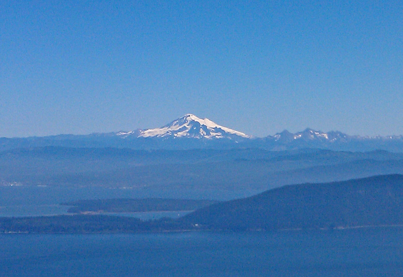 View of Mt. Baker and the other islands in the San Juan Island archipalego