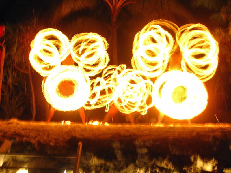 Fire Twirlers at a Bora Bora dinner show