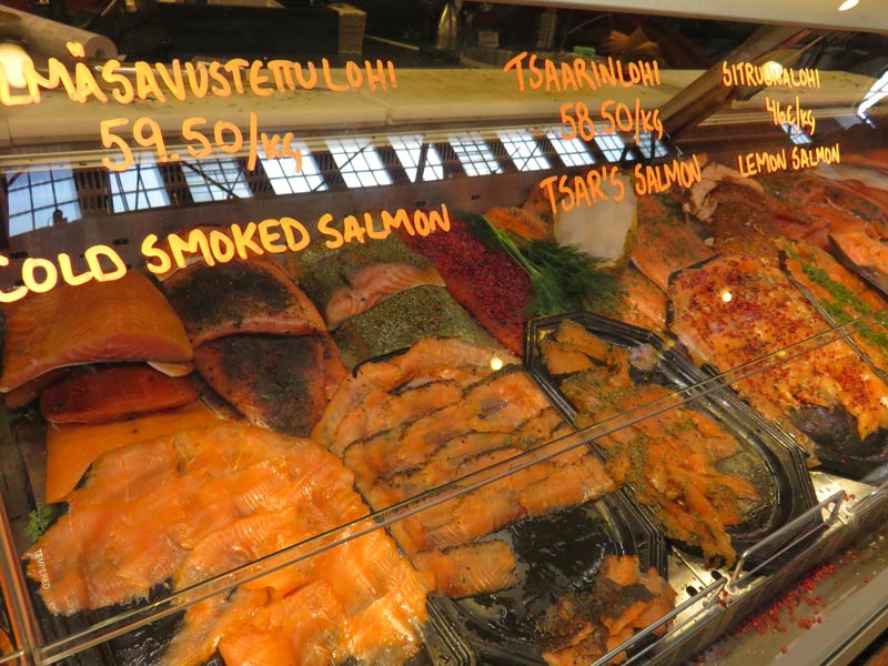 Various types of smoked and grilled salmon