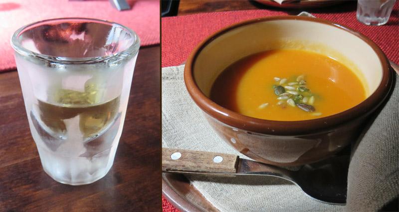 Winter Squash Soup with Pepper Vodka