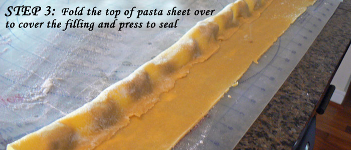 Step 3: Fold the top of pasta sheet over and press to seal