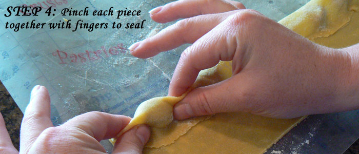 Step 4: Press between each piece with fingers to seal
