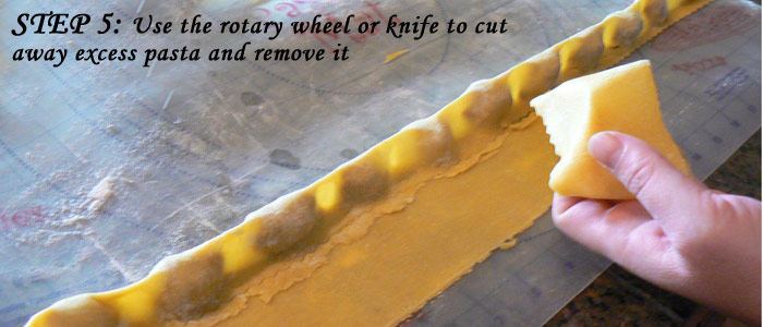 Step 5: Use the rotary wheel to cut excess pasta away
