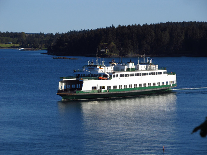 The Washington State Ferry approaching the Orcas Island Ferry Terminal