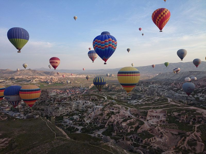 Hot air balloons drifting above the landscape in Cappadocia, Turkey