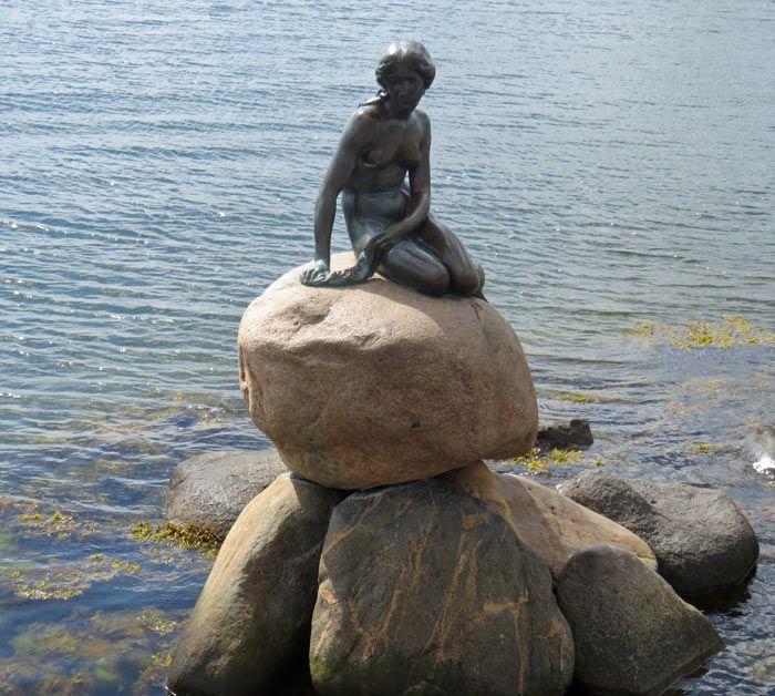 The Little Mermaid Hans Christian Anderson statue in Copenhagen, Denmark