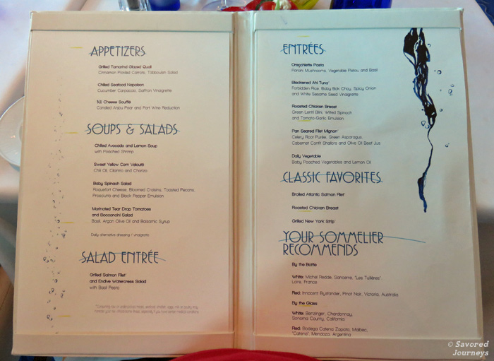Celebrity reflection blu menus