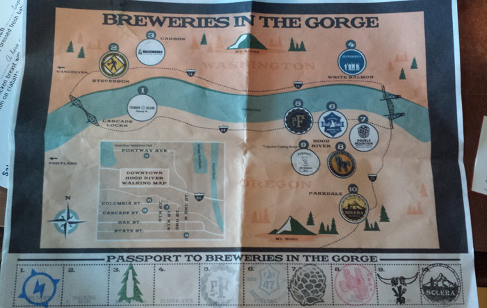 Breweries of the Gorge map and game board