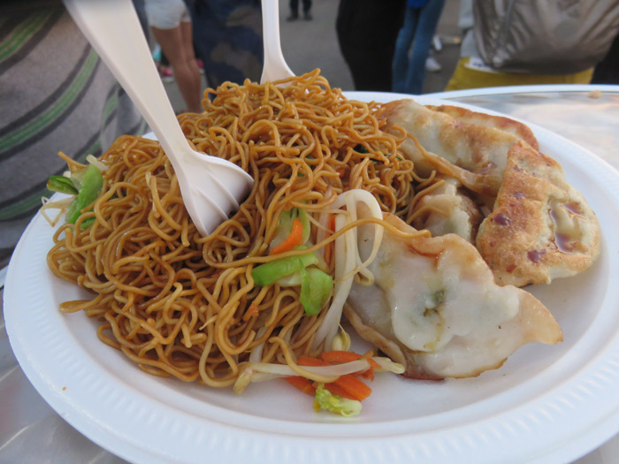 Chow Mein and pork dumplings
