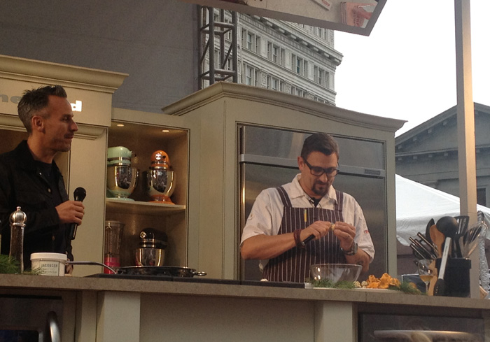 Chris Cosentino makes foie gras in the kitchen at FEAST Portland