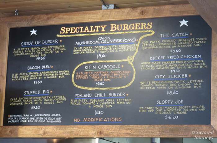 Giddy Up's Specialty Burger Menu