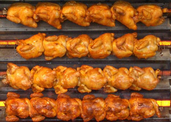 Spit-roasted chicken