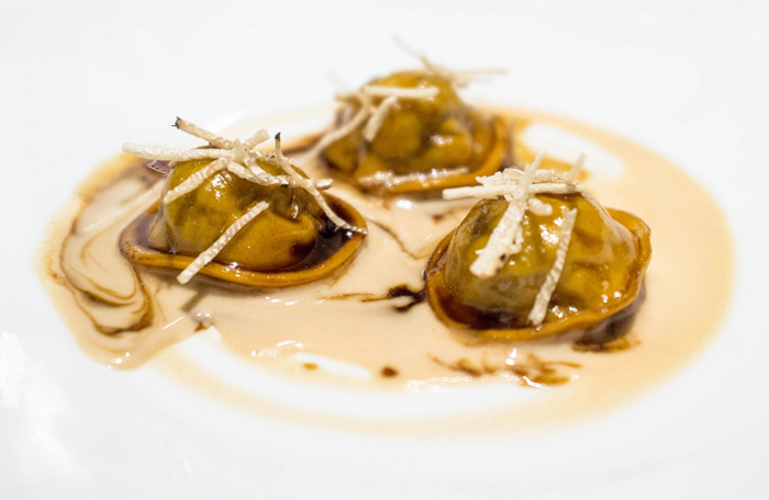 Ravioli with leeks, foie gras and truffles from Osteria Francescana in Modena, Italy