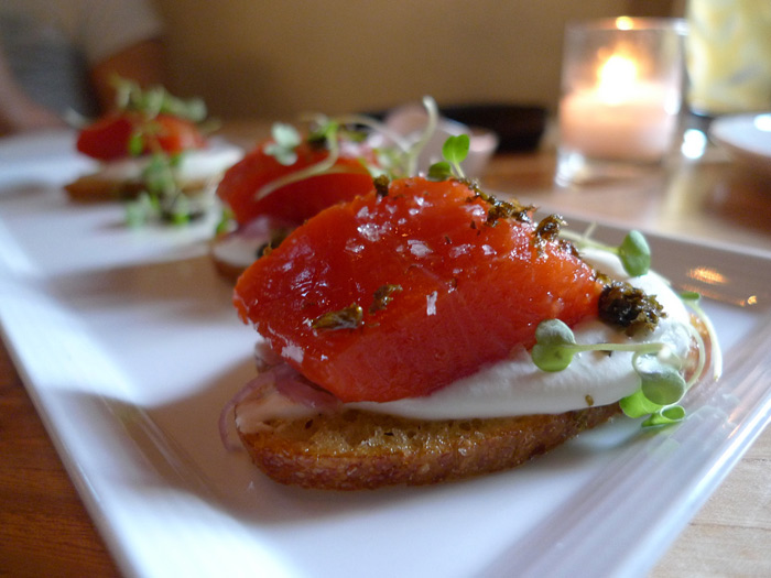Spur's to-die-for salmon crostini