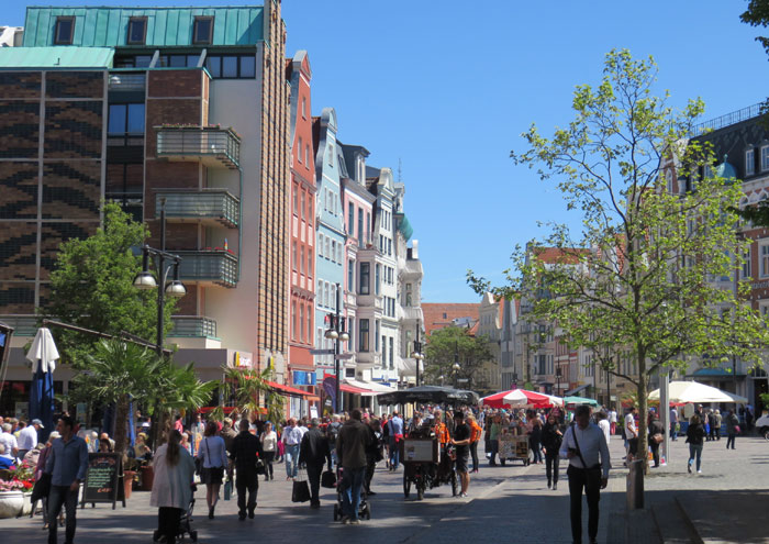 The pedestrian zone of Kropeliner Strasse in Rostock