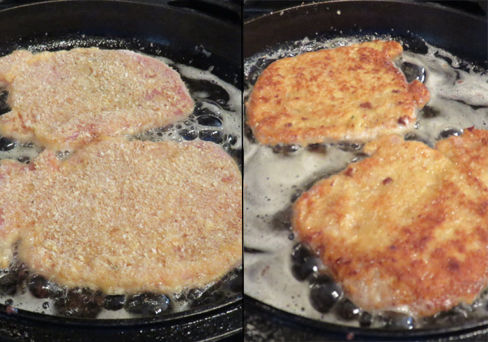 Add the pork to the heated oil and cook until it's browned on both sides.