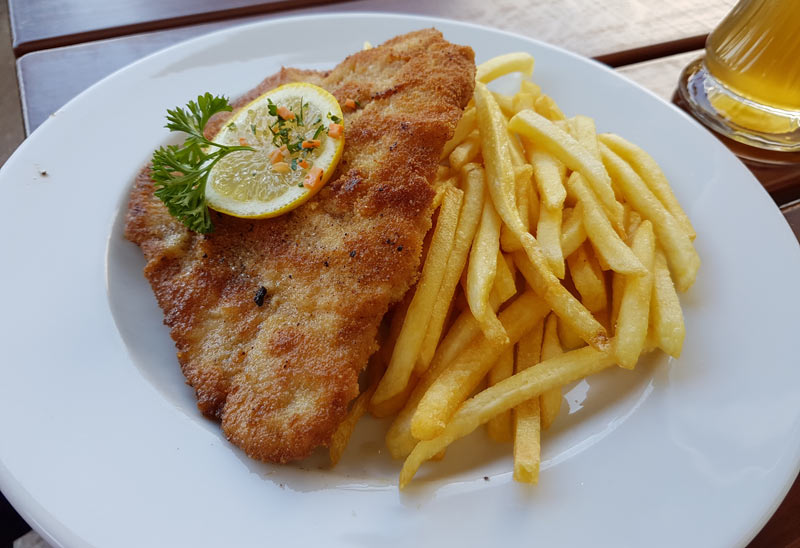 Schnitzel and fries is a typical entree in Germany