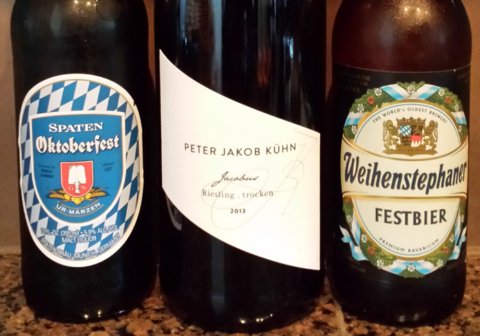 Pair these dishes with a German Riesling or a robust Oktoberfest beer
