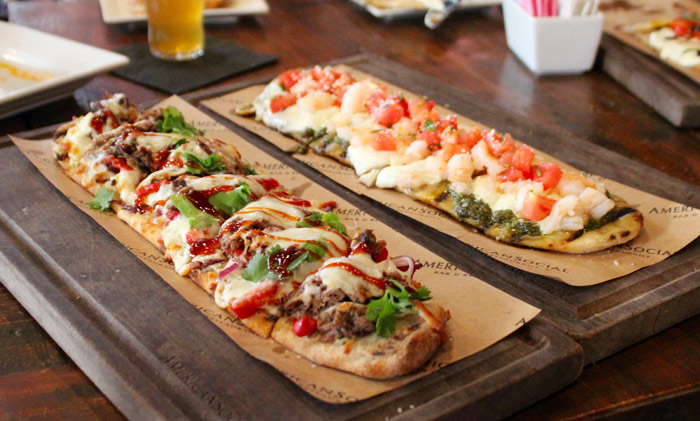 BBQ Short Rib & Shrimp Pesto Flatbread from American Social