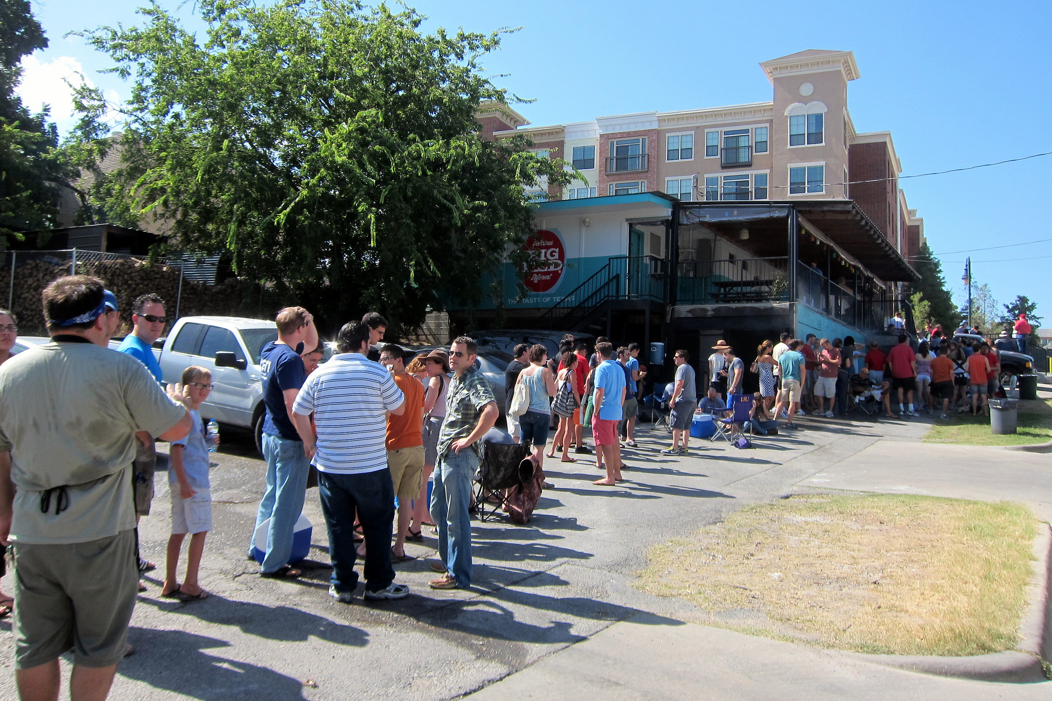 Waiting in line at Franklin's BBQ in Austin, Texas