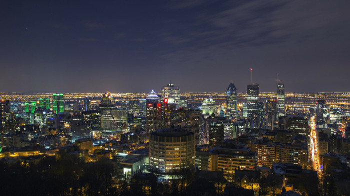 The city lights of Montreal, Canada