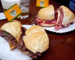 Sandwiches piled high with meat served in Brazil.