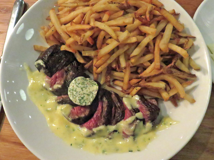 Prime Culotte steak with duck fat fries and a rich bearnaise sauce.